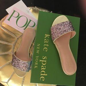 Shoes - Kate Spade Pink & Gold Glitter Sandals, NWOT. 7M